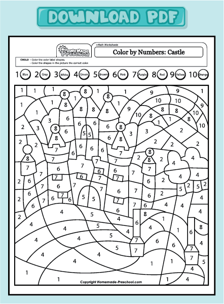 Colour By Number To 10  Number Ten Page Colouring Pages