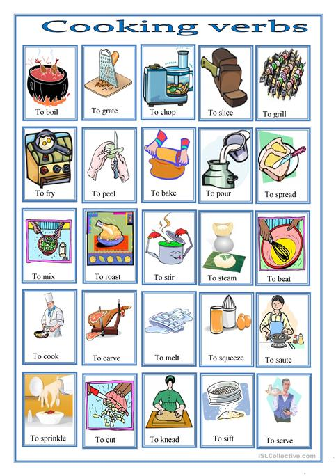 Cooking Verbs Pictionary Worksheet