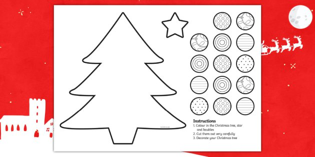 Cutting Skills Christmas Tree Activity