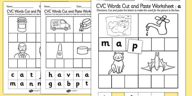 Cvc Words Cut And Paste Worksheet   Activity Sheet A
