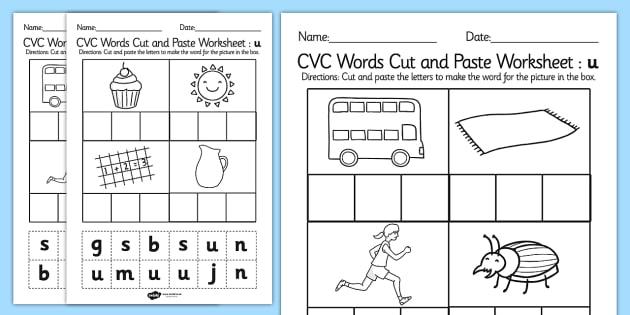 Cvc Words Cut And Paste Worksheets U