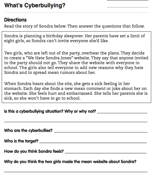 Cyber Bullying Worksheets