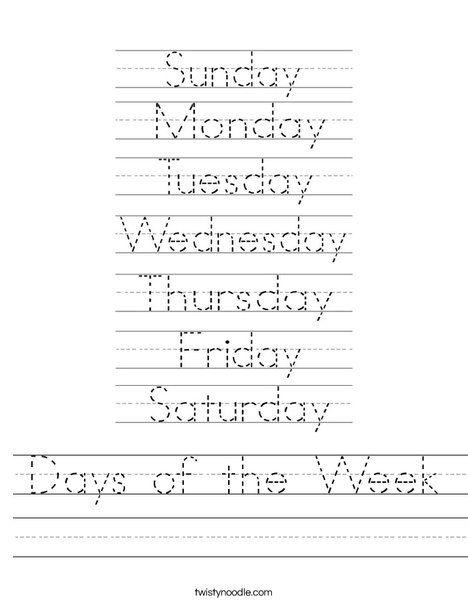 Days Of The Week Worksheet For Kindergarten