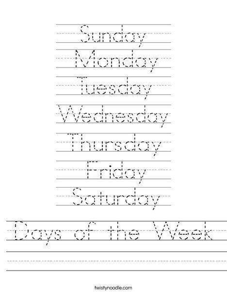 Days Of The Week Worksheet From Twistynoodle Com This Site Has