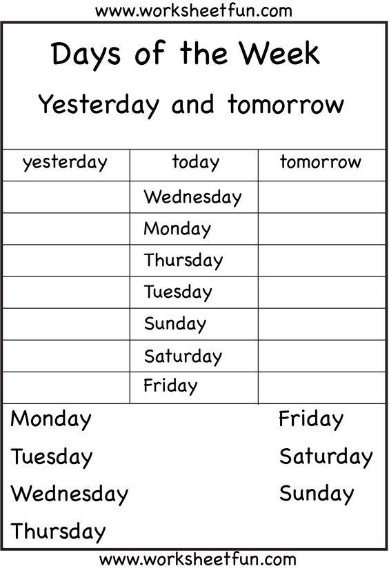 Days Of The Week Worksheets 1ª Eval