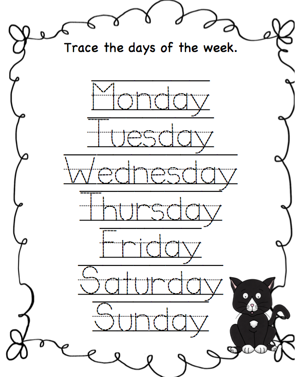 Days Of The Week Worksheets Printable On Tracing Days Of The Week