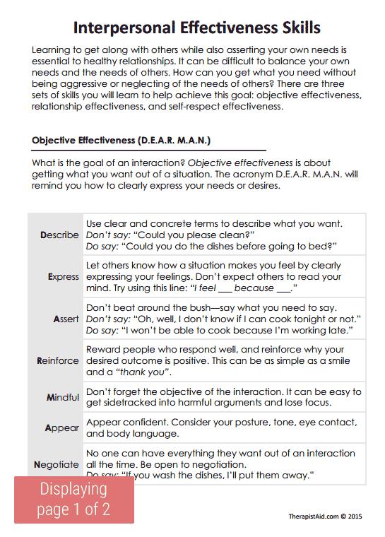Dbt Interpersonal Effectiveness Skills (worksheet)