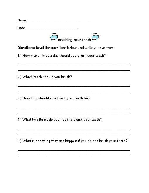 Dental Hygiene Worksheets Free Worksheets Library