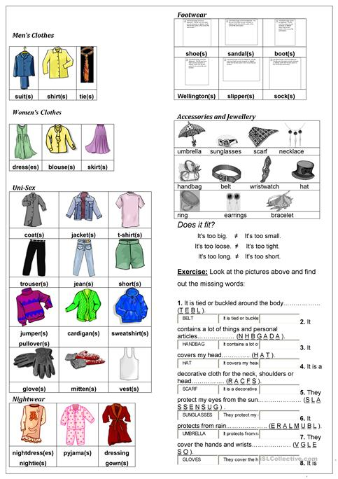 Describing Clothes Worksheet