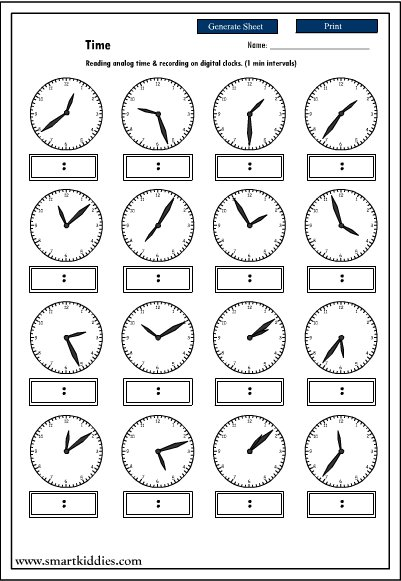 Digital And Analogue Time Worksheets