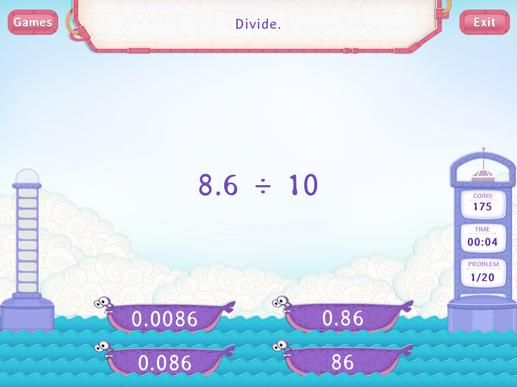 Divide Decimals By A Multiple Of 10 Worksheets