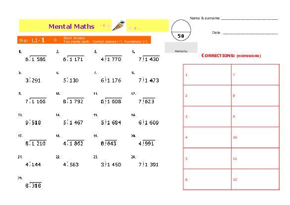 Division Worksheet Grade 5 Free Worksheets Library