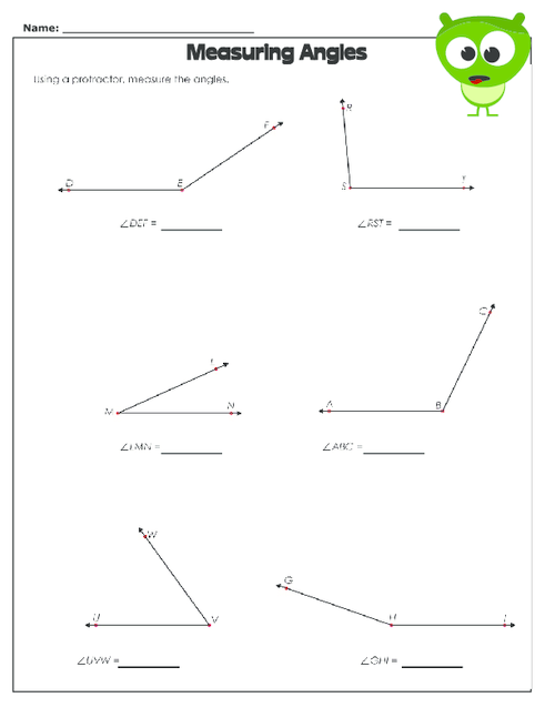 Drawing And Measuring Angles Worksheet