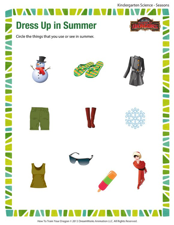 Dress Up In Summer – Science Printables For Kids – School Of Dragons