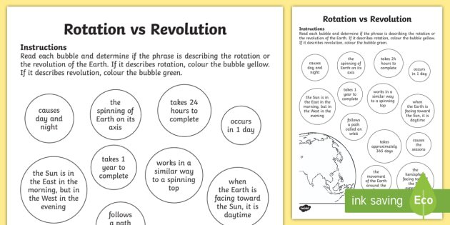 Earth Rotation Vs Revolution Worksheet   Activity Sheet