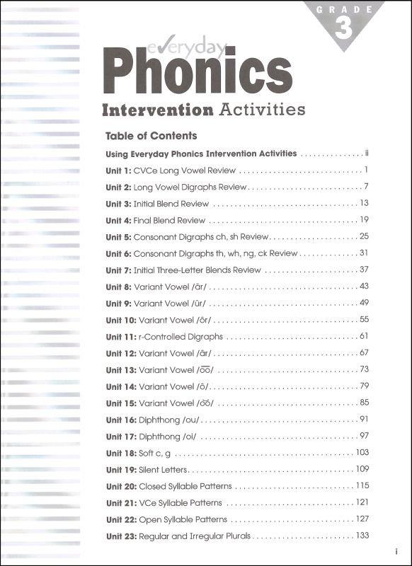 Everyday Phonics Intervention Activities Grade 3 (036057) Details