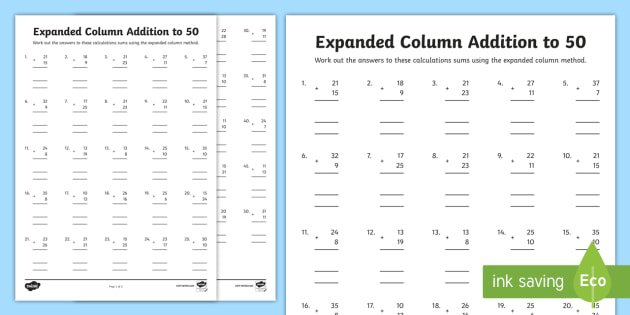 Expanded Column Addition To 50 Worksheet   Activity Sheets