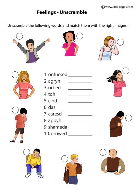 Feelings Unscramble Worksheets