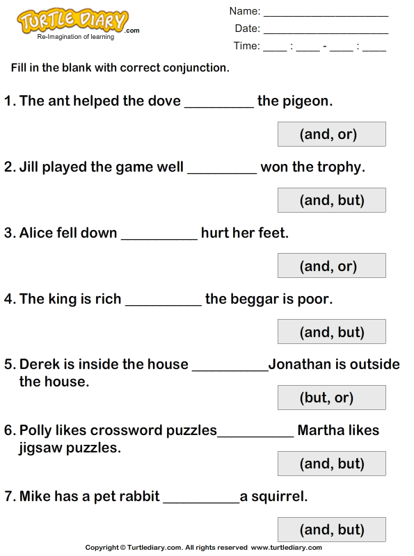 Fill In The Blanks Using Conjunctions But Or And Worksheet