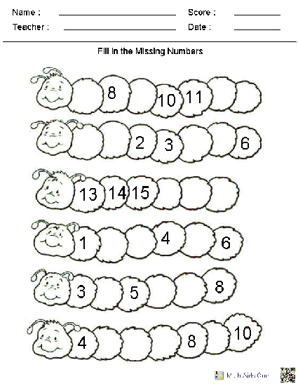 Fill In The Missing Numbers Worksheets, Many Other Worksheets Too