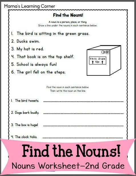 Find The Nouns! Worksheet For 2nd Grade