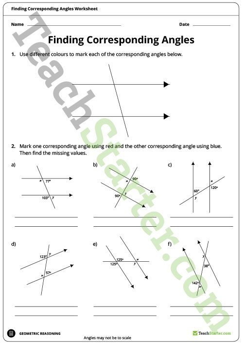 Finding Corresponding Angles Worksheet Teaching Resource – Teach