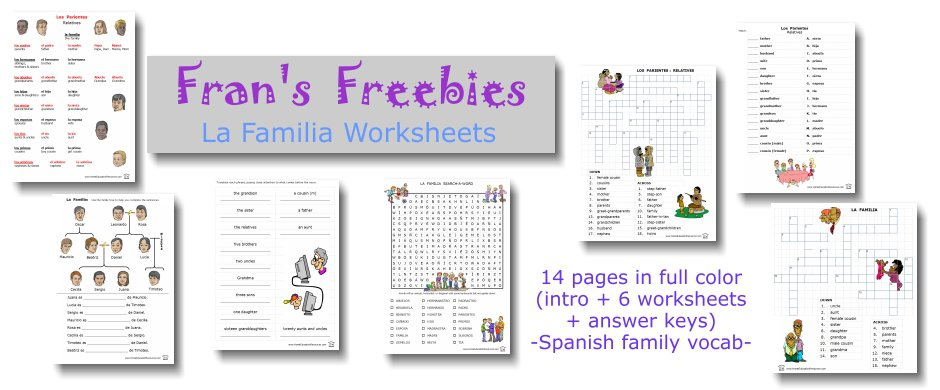 Fran's Freebies  Spanish Family Relationships Vocabulary