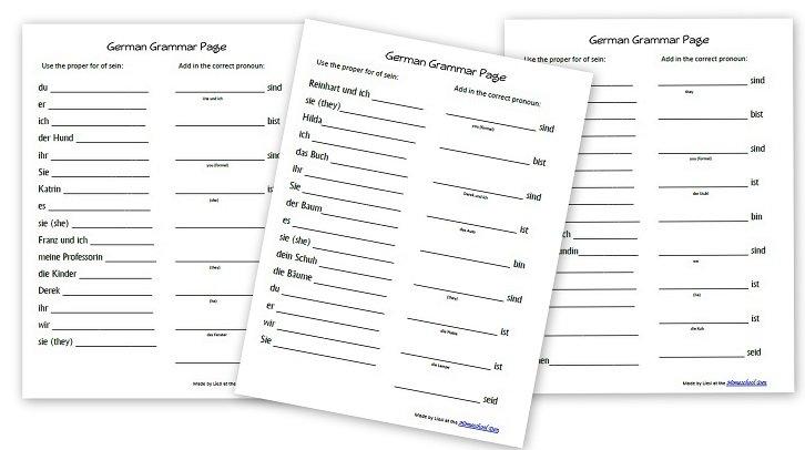 Free German Grammar Worksheets For Kids (sein – To Be