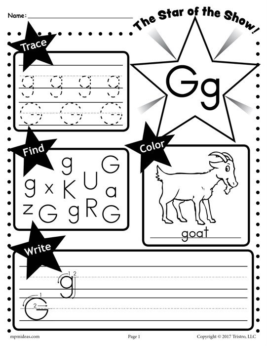 Free Letter G Worksheet  Tracing, Coloring, Writing & More!
