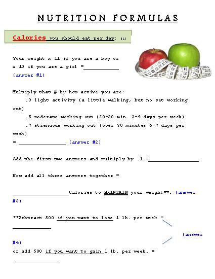 Free! Nutrition Formulas  Do You Know How Many Calories, Fat, Or