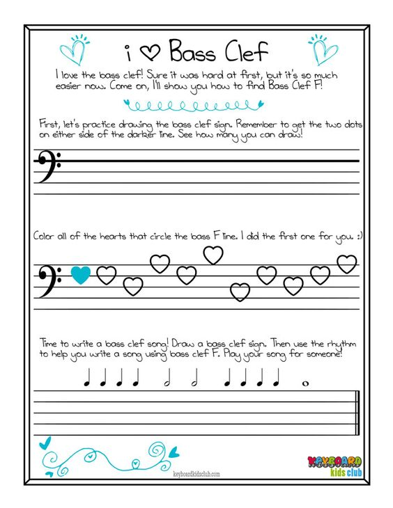 Free Printable Piano Bass Clef Worksheet Valentine's Day Pdf