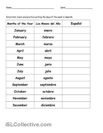 Free Printable Spanish Worksheets For High School