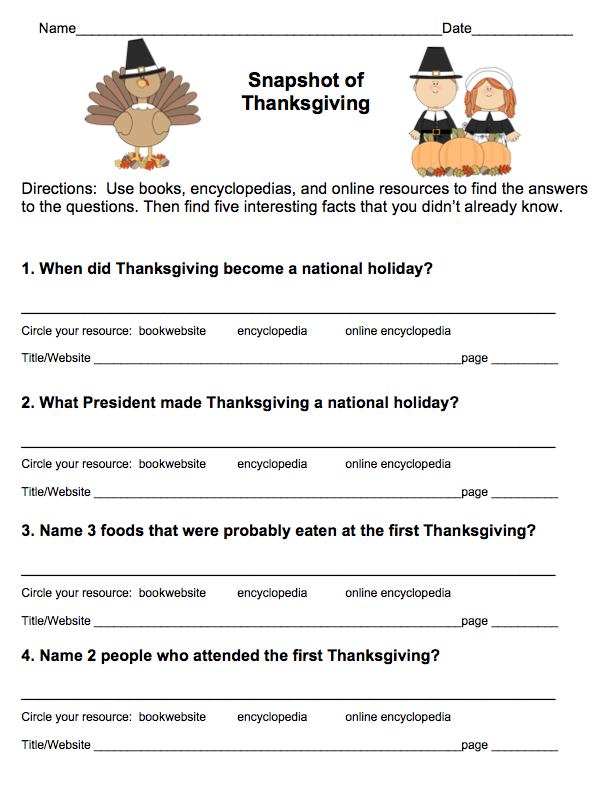 Free! Thanksgiving Research Scavenger Hunt (grades 3