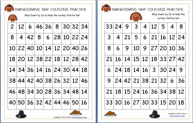 Free Thanksgiving Skip Counting Mazes 2s, 3s, 5s