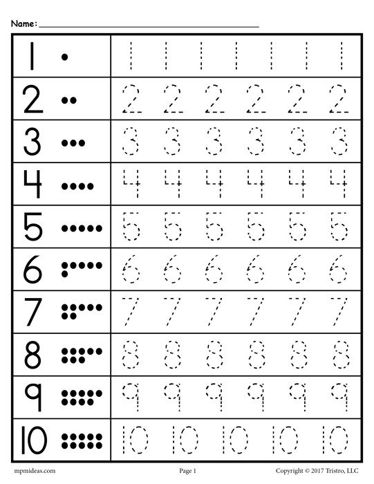 Free Tracing Worksheets Numbers 1