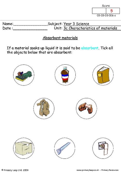 Free Unit 3c Characteristics Of Materials Printable Resource