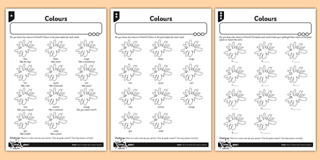 French Colours Worksheet   Activity Sheet