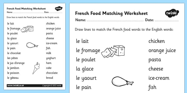 French Food Matching Words Worksheet