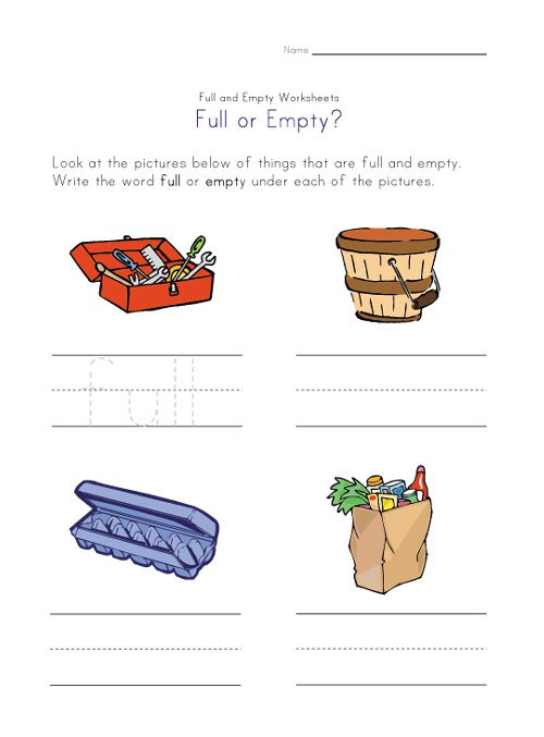 Full And Empty Worksheets For Kids