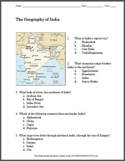 Geography Of India Map Worksheet