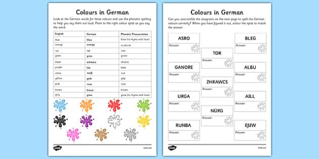 German Colours Worksheet