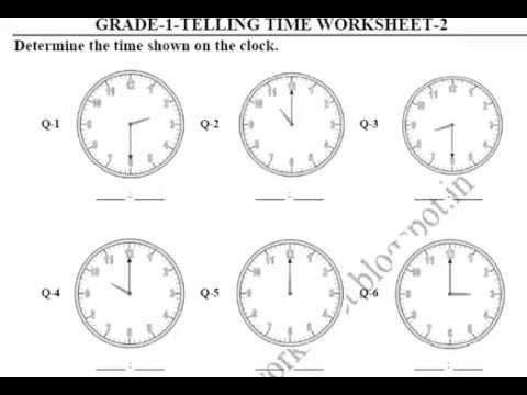Grade 1 Telling Time Printable Worksheets