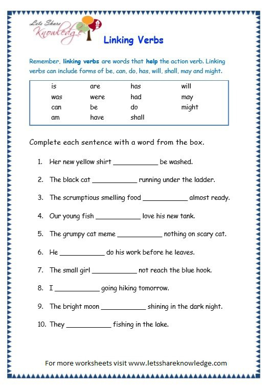 Grade 3 Grammar Topic 14  Helping Verbs Worksheets