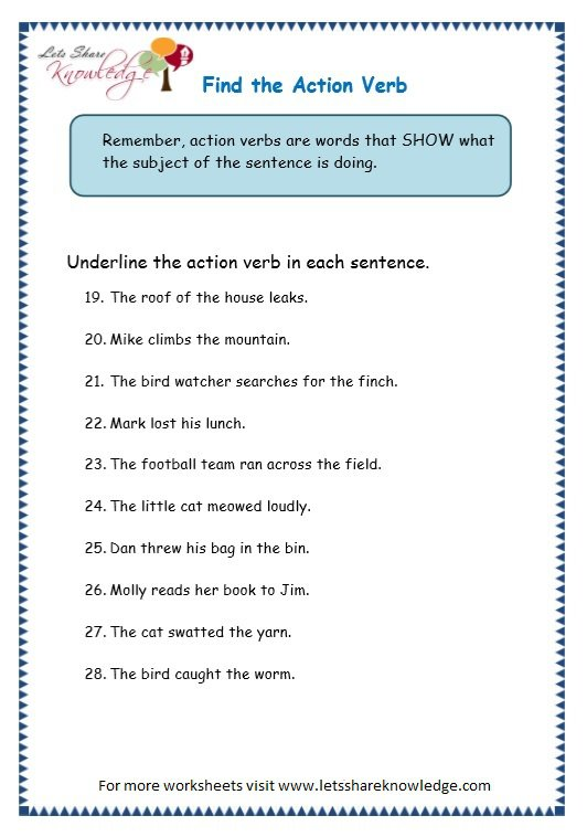 Grade 3 Grammar Topic 2  Action Verbs Worksheets