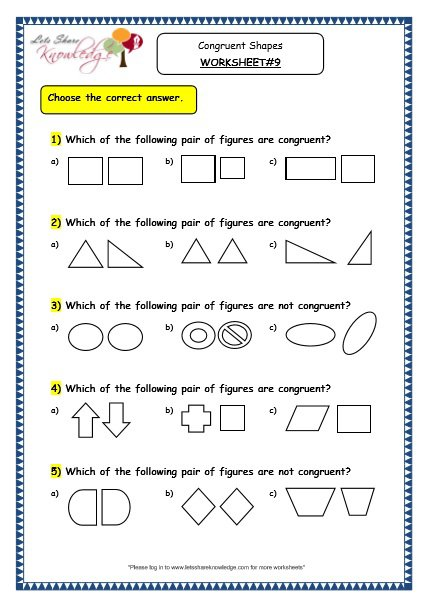 Grade 3 Maths Worksheets  (14 5 Geometry  Congruent Shapes)