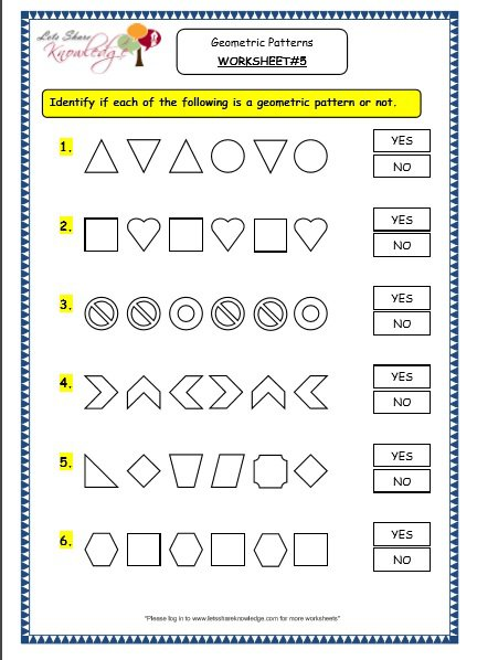 Grade 3 Maths Worksheets  (14 9 Geometry  Geometric Patterns In