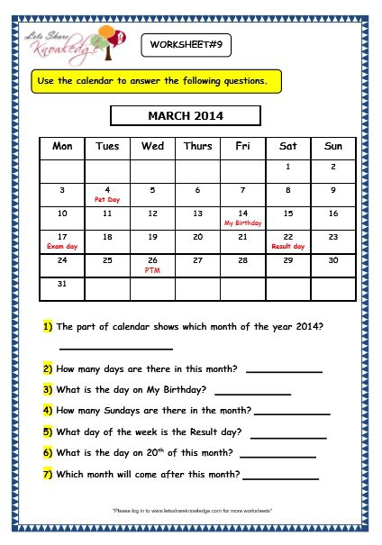Grade 3 Maths Worksheets  (9 1 Calendars)