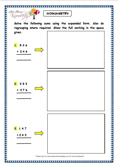 Grade 3 Maths Worksheets  Addition (3 5 Addition Using Expanded
