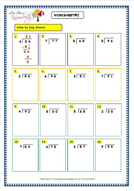 Grade 3 Maths Worksheets  Division (6 3 Long Division Without