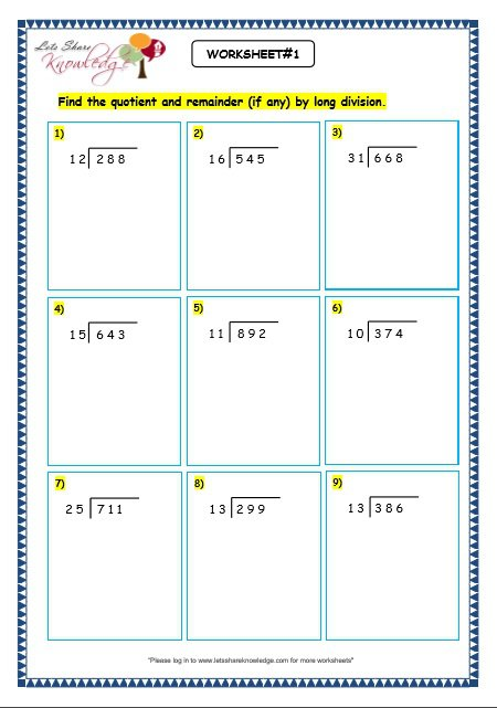 Grade 3 Maths Worksheets  Division (6 5 Long Division By 2 Digit